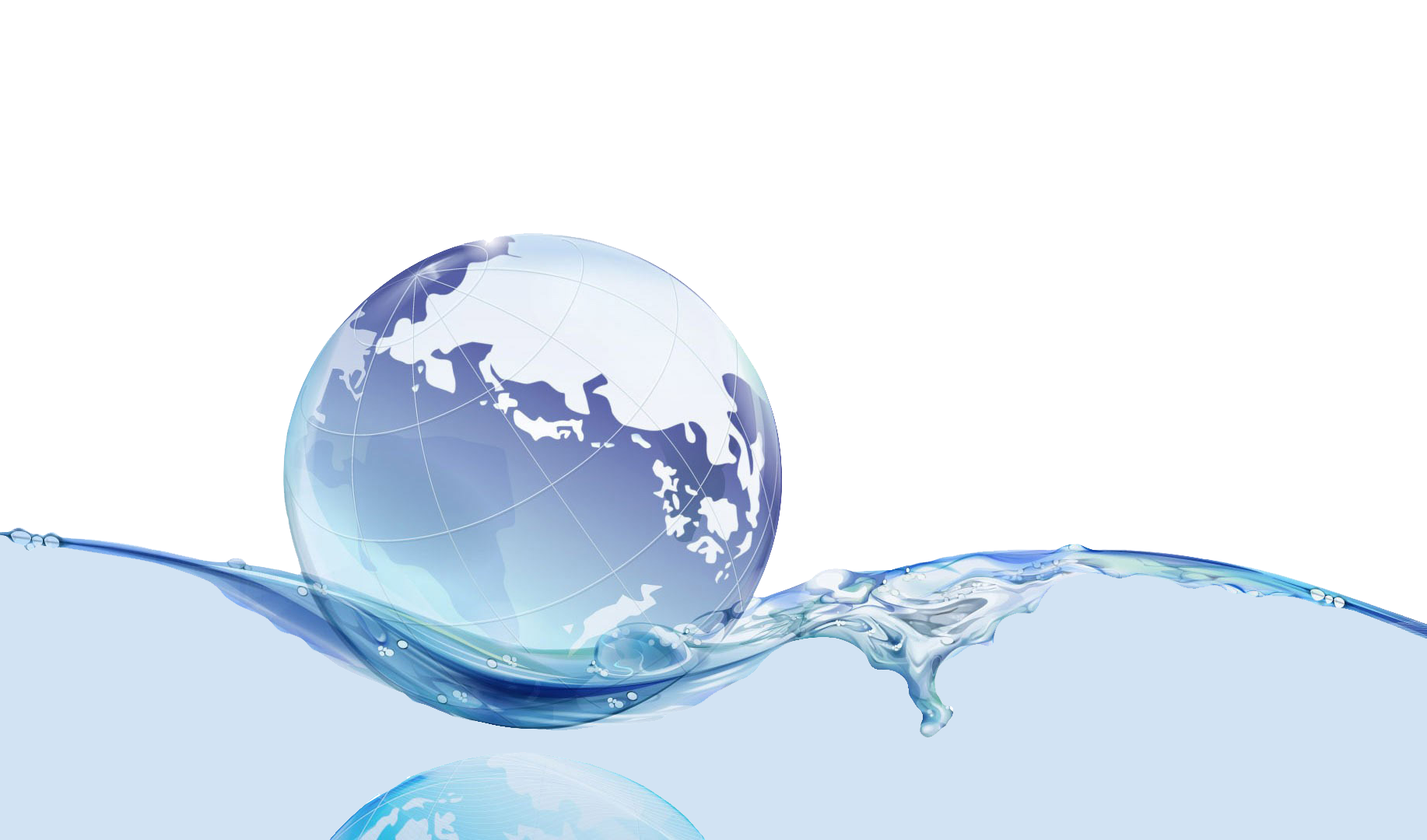 Image of a globe floating on water suggesting world water experts