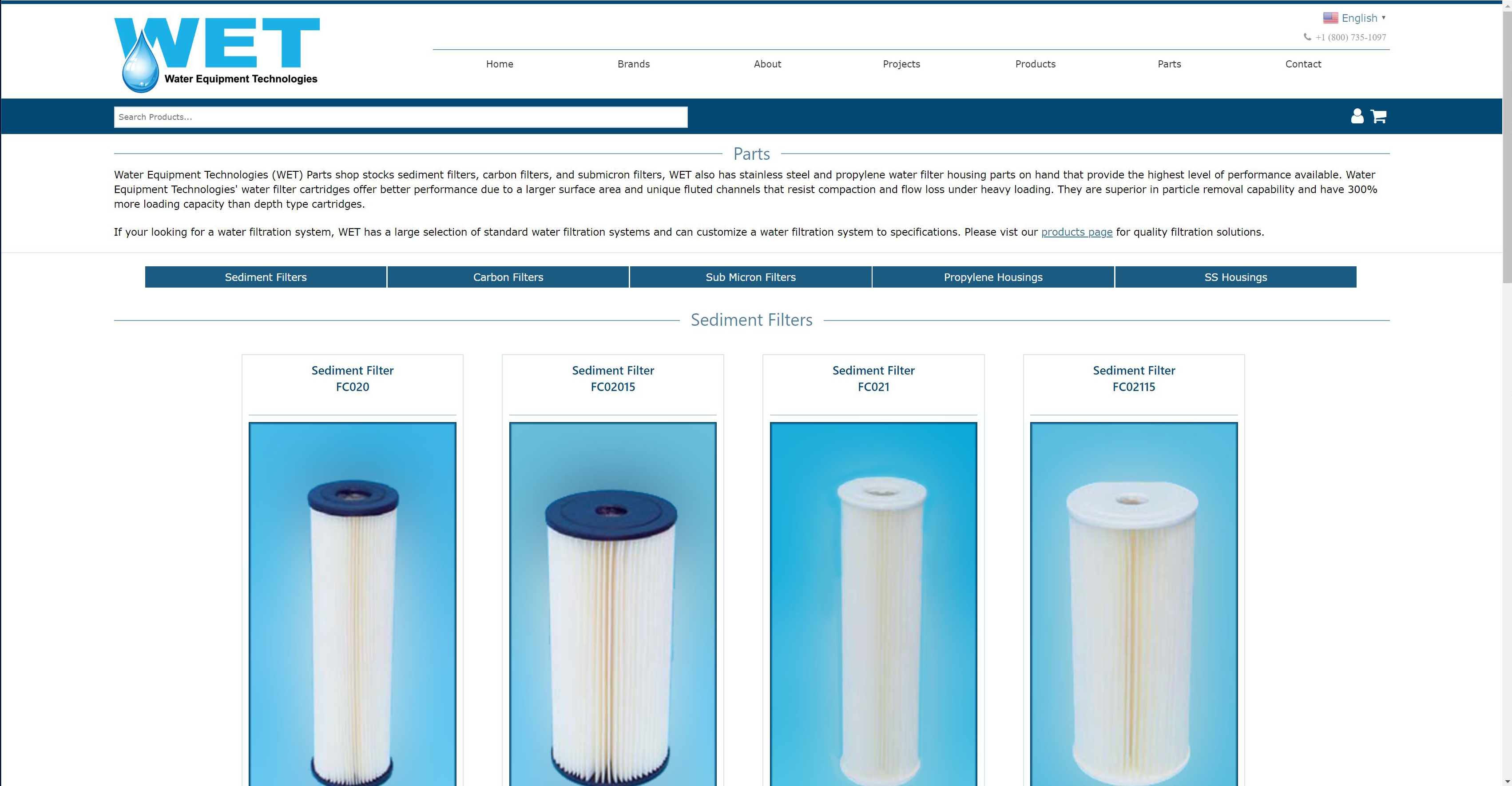 WET Sediment Carbon Submicron Filters website screenshot of the WET parts page.